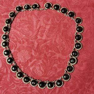 Jewelry - Necklace silver black glass cats eye
